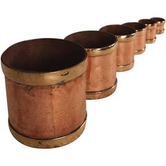 Set of Antique Copper and Brass Seer Measures