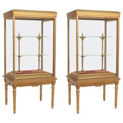 Pair of French Neoclassical Giltwood Standing Cabinets or Vitrines