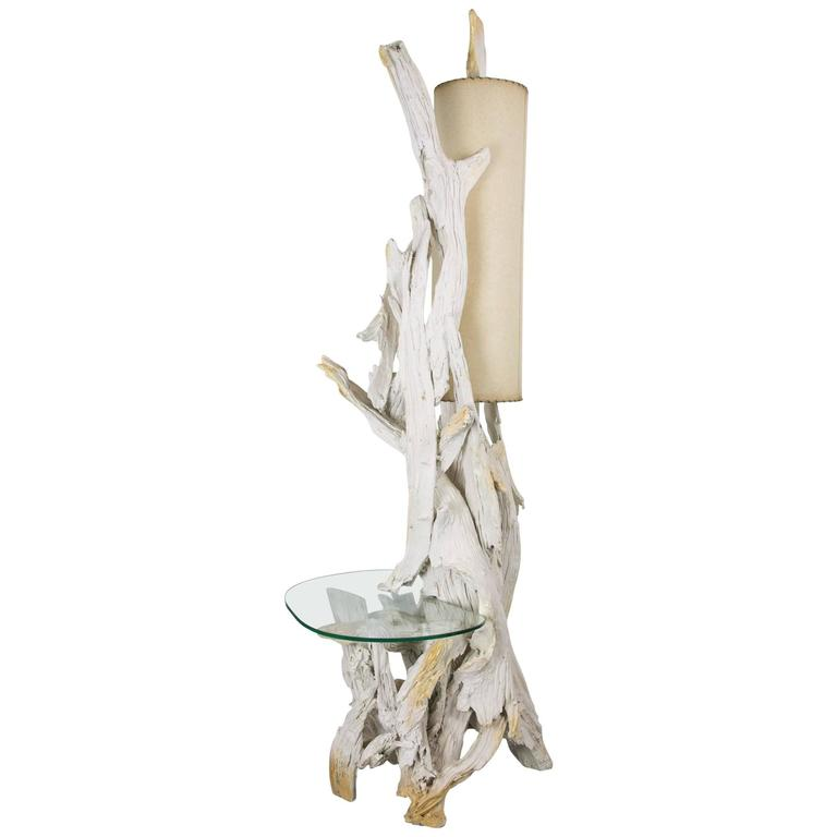 Monumental Driftwood Floor Lamp with Glass Table
