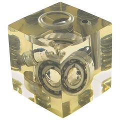 1970s Pierre Giraudon Resin Cube Sculpture Paperweight Industrial Car Parts