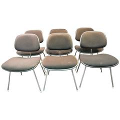 Wonderful 1970s Set of Six Charles Eames Dcm Chairs for Herman Miller