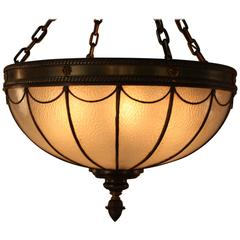 American Leaded Glass Inverted Dome Chandelier