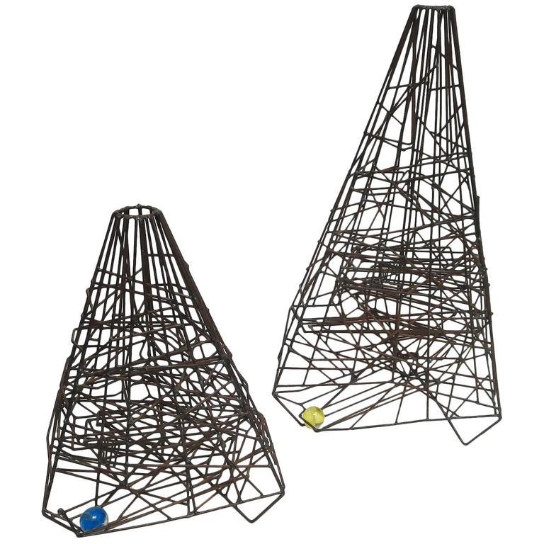 "Pair of 1960s Welded Wire ""Maze"" Sculptures by Guy Pullen 1"
