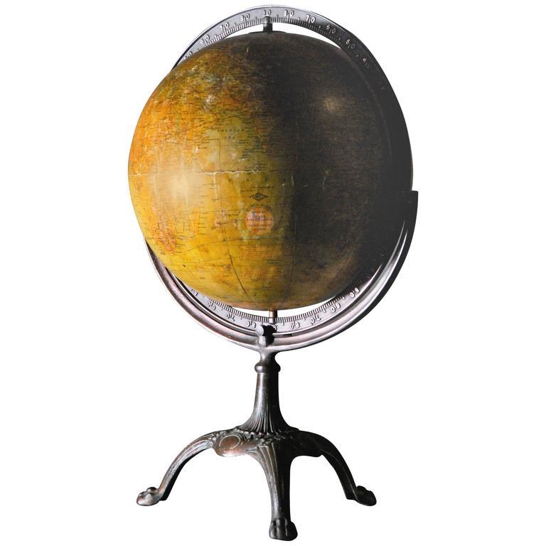 1930 Weber Costello Copper Base World Globe