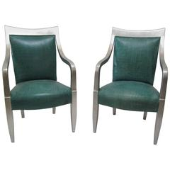 Pair of Silver Leaf Croc-Embossed Leather Armchairs by Donghia