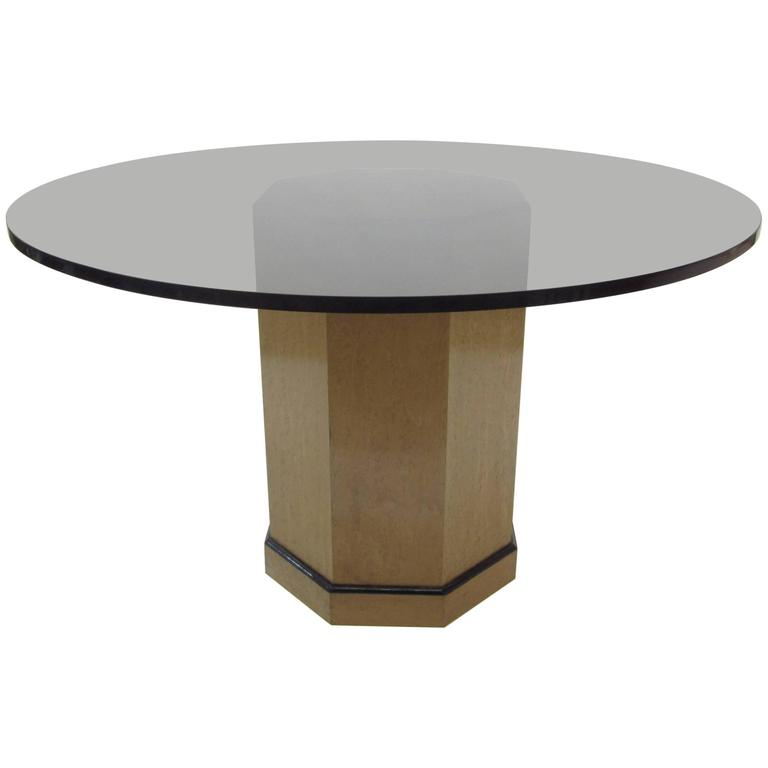 Pedestal Center Entrance Table / Dining Table, with Round Amber Glass Top