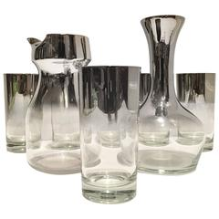 """Set of Ten Sterling Silver Overlay """"Fade Out"""" Glass Drinks by Dorothy Thorpe"""