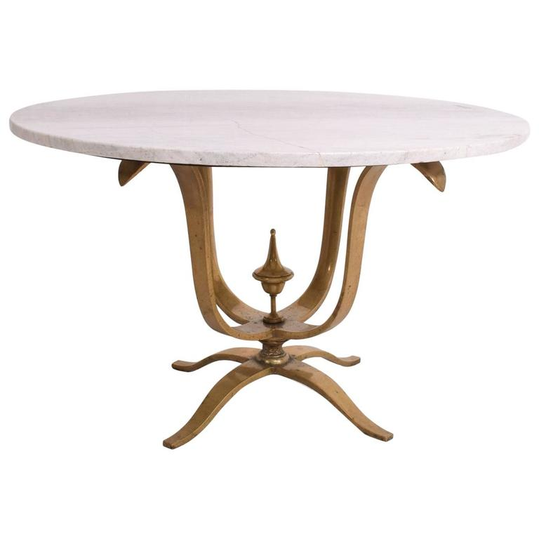 round dining table solid brass and marble after arturo. Black Bedroom Furniture Sets. Home Design Ideas