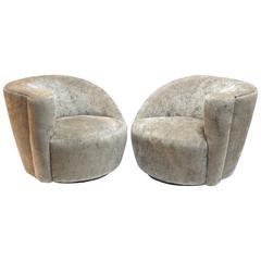 Pair of Vladimir Kagan Nautilus Swivel Lounge Chairs for Directional
