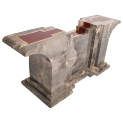 Goatskin Console Table after Aldo Tura