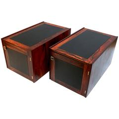 Pair of 1960s Danish Rosewood and Leather Side Tables with Storage by Bornholm