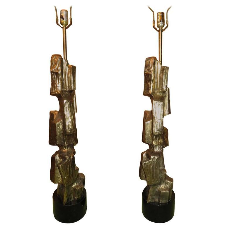 Pair of Tall Sculptural Bronze Brutalist Table Lamp, Maurizio Tempestini Laurel