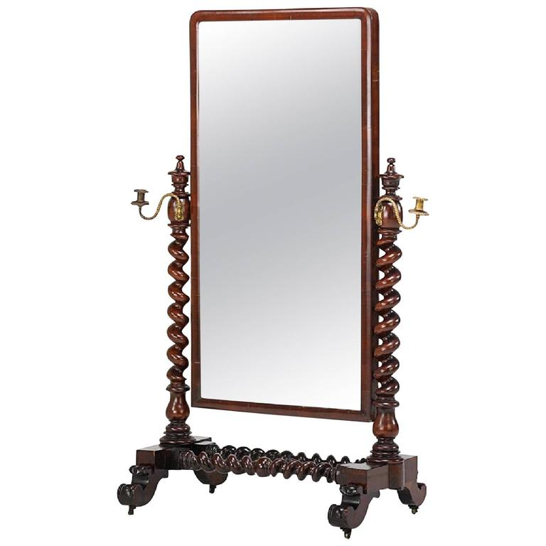 William IV Barley Twist Mahogany Cheval Mirror For Sale