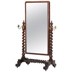 William IV Barley Twist Mahogany Cheval Mirror