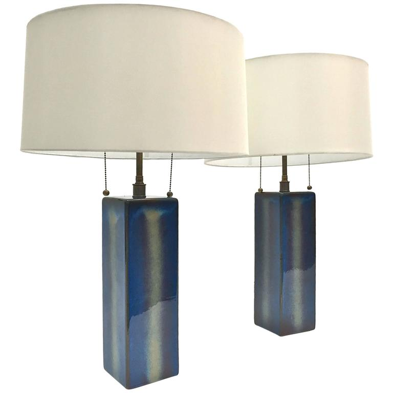 Pair of Large Table Lamps by Soholm Pottery