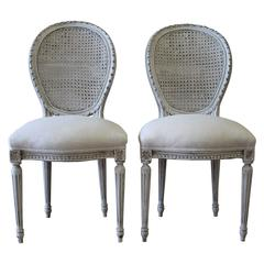 Pair of Antique French Louis XVI Style Cane Back Side Chairs