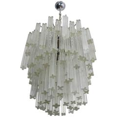 1970s Murano Chandelier in the Manner of Venini, 107 Prism Quadriedri