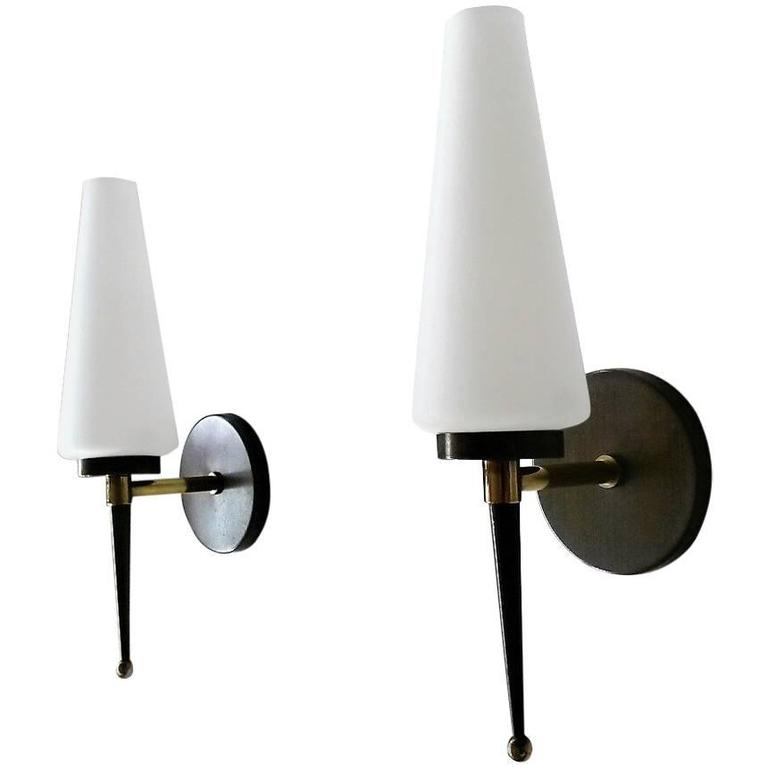 Pair of Pierre Disderot French Modern Sconces, 1950s
