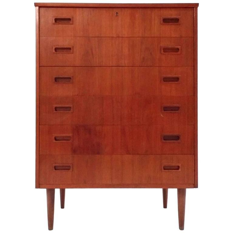 Danish Teak Tallboy Chest Of Drawers Recessed Handles Mid Century S At Stdibs