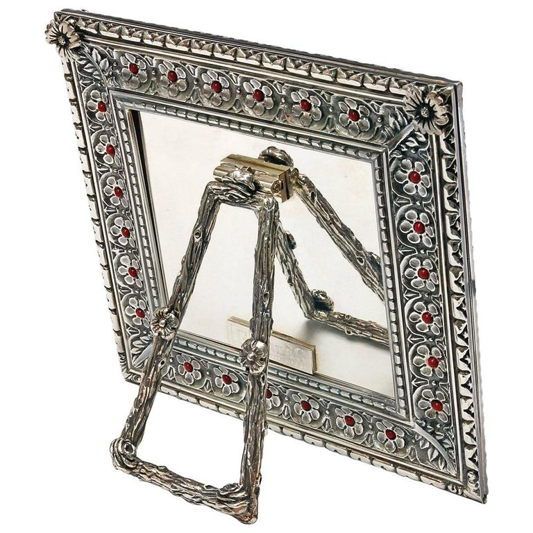 Italian Arts and Crafts  Lost Wax Silver Picture Frame, Harmony Coral For Sale