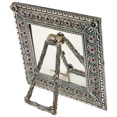 Italian Arts and Crafts  Lost Wax Silver Picture Frame, Harmony Coral