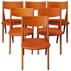 Danish Modern Set of Six Teak or Leather Dining Chairs