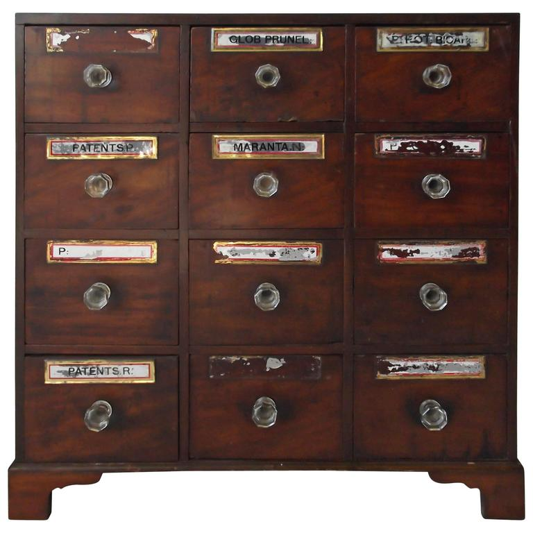 Small Antique Federal Mahogany Footed Apothecary Chest Cabinet, Circa 1850  For Sale