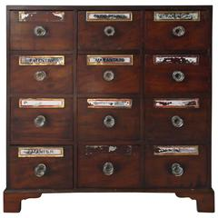Small Antique Federal Mahogany Footed Apothecary Chest Cabinet, circa 1850