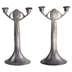 Pair of Jugendstil Candlesticks by Joseph Maria Olbrich, Germany, 1903-1904