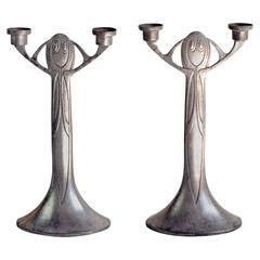Pair of Jugendstil Candlesticks by Joseph Maria Olbrich, Germany, 1903-1904