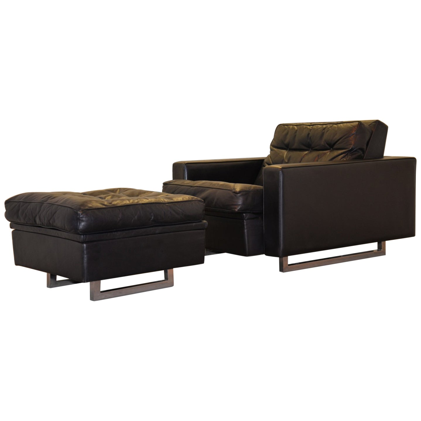 """Vintage de Sede DS 3A """"New Yorker"""" Armchair and Ottoman, 1970s"""