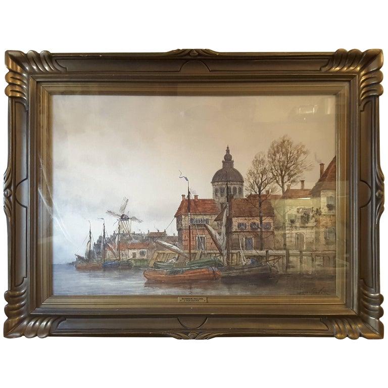 J. Van Couver, Watercolor, Dutch Harbor Scene For Sale