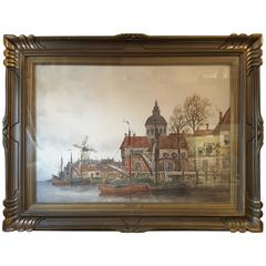 J. Van Couver, Watercolor, Dutch Harbor Scene