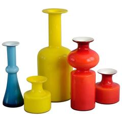 """Five """"Carnaby"""" Vases by Per Lutken and Otto Brauer for Holmegaard, 1960s"""