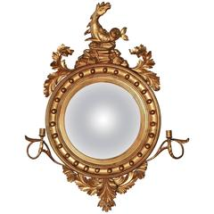 Large Regency Convex Gilt Girandole Wall Mirror
