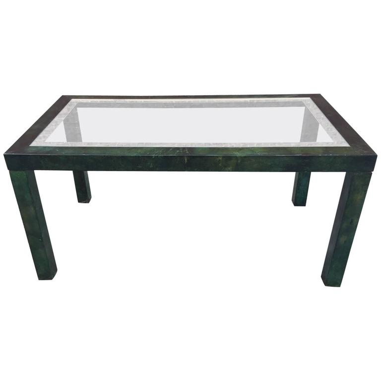 Aldo Tura Lacquered Parchment Center or Dining Table