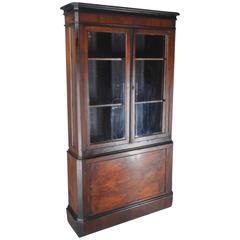1830s Biedermeier Burled Walnut Veneer Bookcase