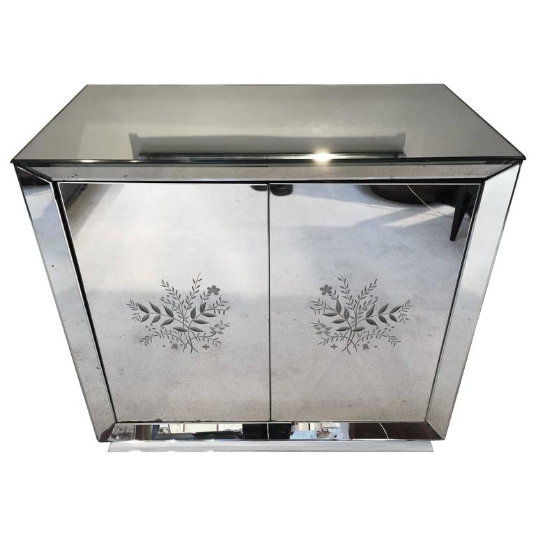 Art Deco French All Mirrored Bar Cabinet Revolving Door