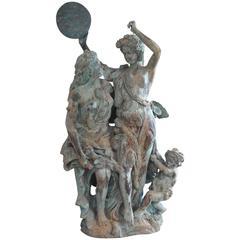 Art Deco Italian Bronze Harvest of Grapes Celebration