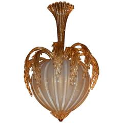Chandelier Murano Crystal and Gold Inclusion, Pineapple Form by Barovier