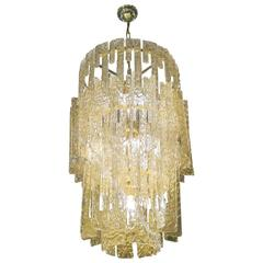 Mid-Century Murano Gold Hook Chandelier Attributed to Mazzega