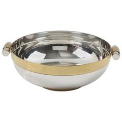 Mid-Century Modernist Brass and Chrome Centrepiece Serving Bowl, circa 1970s