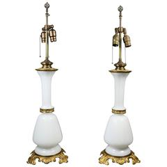 Pair of Victorian Opaline Glass and Gilded Brass Table Lamps