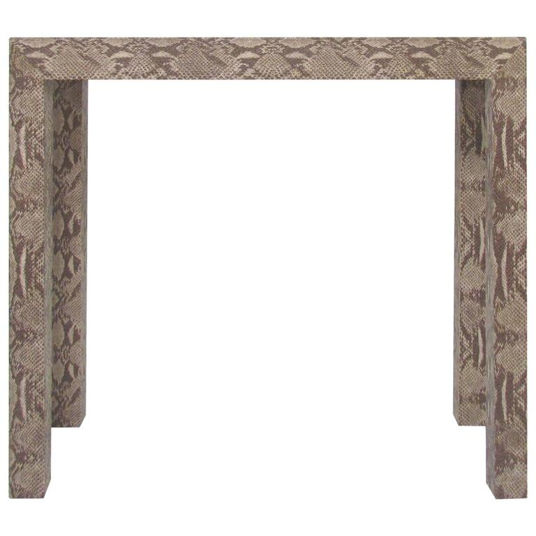 Console Table Wrapped in Faux Python in Manner of Karl Springer, circa 1970s