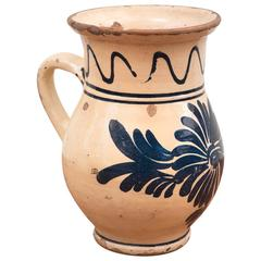 19th Century Spanish Ceramic Glazed Cream Pitcher