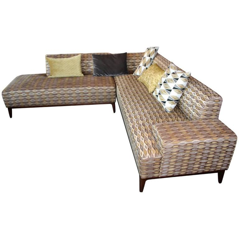 Nice Sectional Sofa in a Nice Fabric For Sale