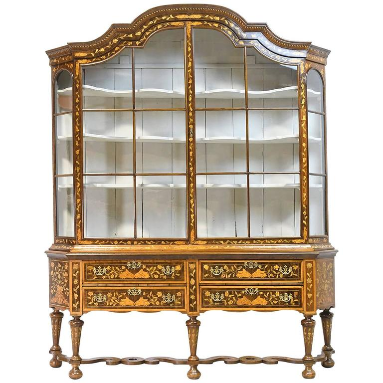 Early 19th Century Dutch Vitrine/Glass Display Cabinet with Marquetry, c. 1800