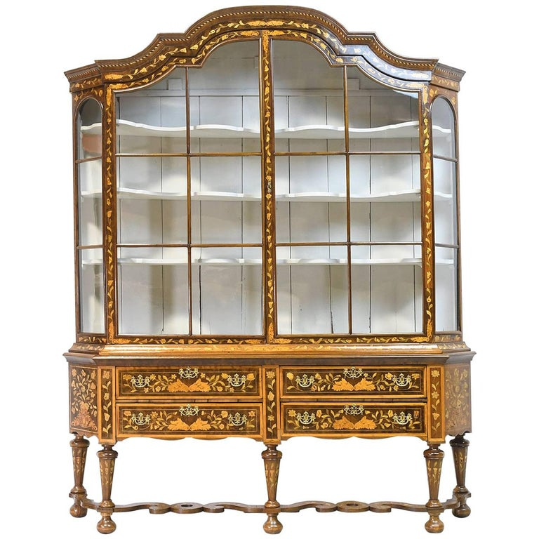 Early 19th Century Dutch Vitrine/Glass Display Cabinet with Marquetry, c. 1800 For Sale