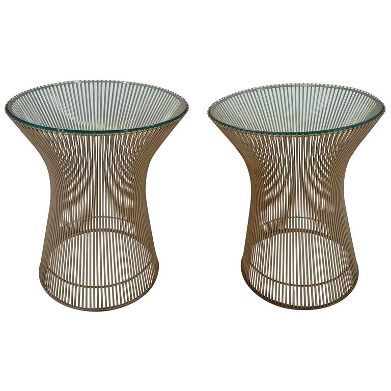 Early Pair Of Warren Platner For Knoll Nickel And Glass Side Tables 1