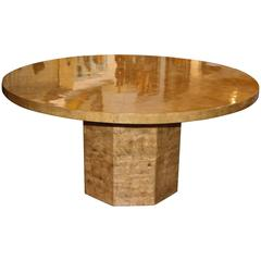 Round Segmented Parchment Table on Parchment Base